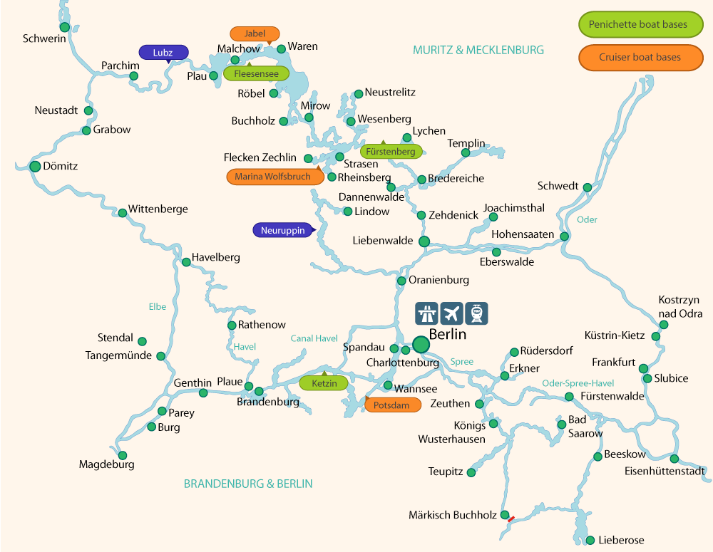 Map Of Germany With Rivers.Penichette Boat Holidays On Rivers And Canals In Germany Mecklenburg
